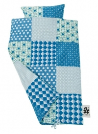 Sebra Bettwäsche Baby 100x70 cm/ 42x39 cm, Blue Patch