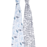 Aden Anais Mulltuch Swaddles 2er-Pack, gone fishing