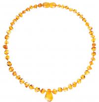 Amberos Bernsteinkette, Baroque mit Anhänger Honig Gelb