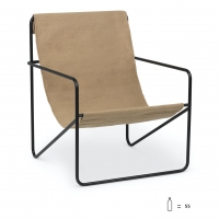 Ferm Living Desert Lounge Chair, Black/Solid Cashmere