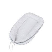 Babybay Baby Nestchen Kuschelnest, weiss Punkte perlgrau