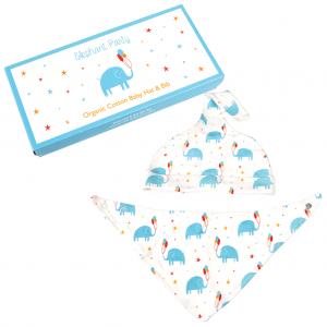 Rex London Baby Mütze + Dreieckstuch aus Bio-Baumwolle, Elephant Party