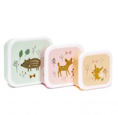 Petit Monkey Set 3 Snack-Dosen, Forest Friends