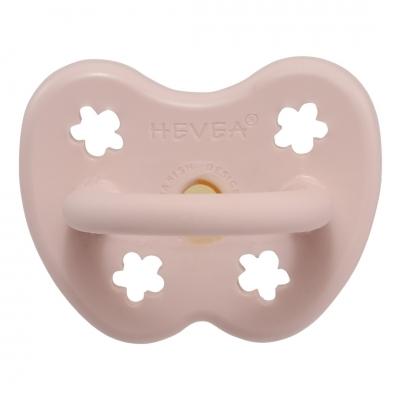 HEVEA Schnuller Powder Pink Naturkautschuk - Blume, kiefergerecht (0-3 Monate)