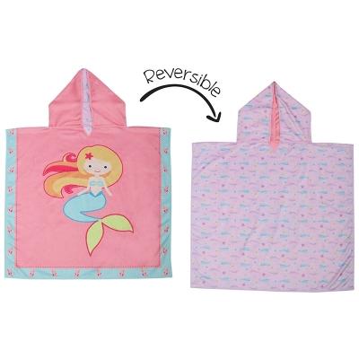 Flapjackkids Kinder-Strand-Poncho UPF 50+, wendbar, Meerjungfrau