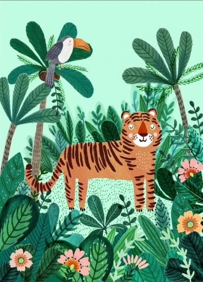 Geburtstagskarte Tiger & Tukan