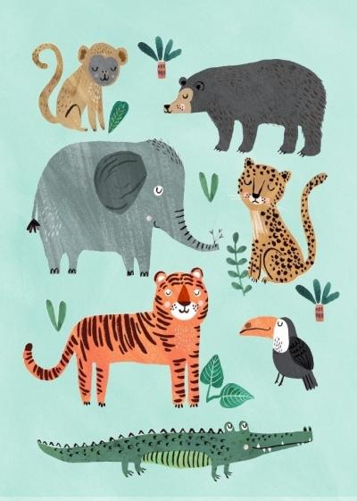 Geburtstagskarte Wilde Tiere