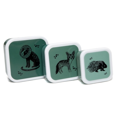 Petit Monkey Set 3 Snack-Dosen, Black Animals Salie