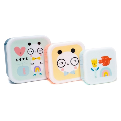 Petit Monkey Set 3 Snack-Dosen, Panda Love