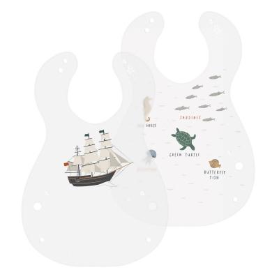 Sebra Kunststoff Lätzchen, 2er Pack, Seven Seas