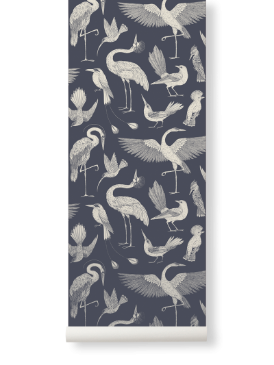 Ferm Living Tapeten Birds, Dark Blue
