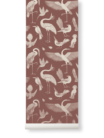 Ferm Living Tapeten Birds, Dusty Red
