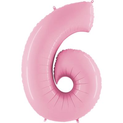 Folienballon Pink Pastell 100 cm, Zahl 6
