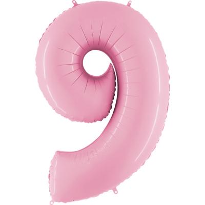 Folienballon Pink Pastell 100 cm, Zahl 9