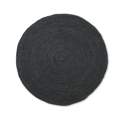 Ferm Living Erternal Round Jute Teppich, Black, klein