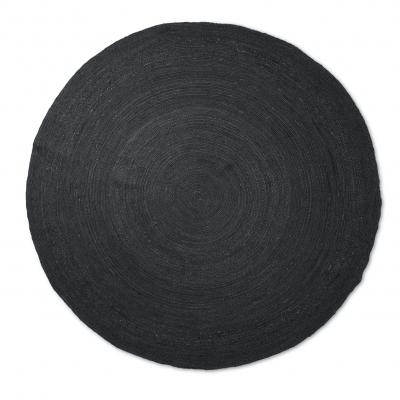 Ferm Living Erternal Round Jute Teppich, Black, gross