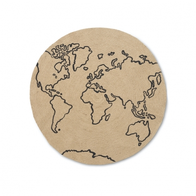 Ferm Living Erternal Round Jute Teppich, World, klein