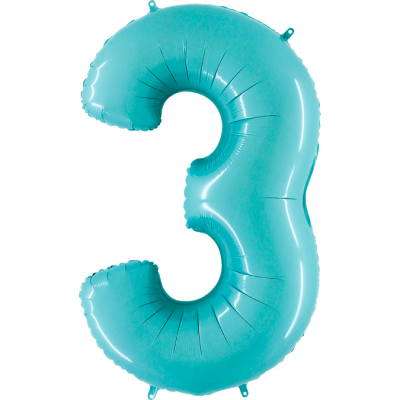Grabo Folienballon Blau Pastell 100 cm, Zahl 3