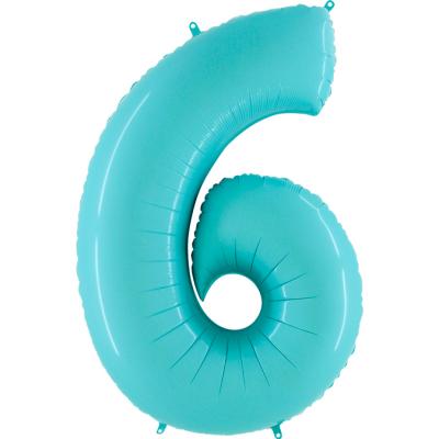 Grabo Folienballon Blau Pastell 100 cm, Zahl 6
