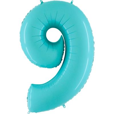 Grabo Folienballon Blau Pastell 100 cm, Zahl 9