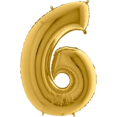 Grabo Folienballon Gelbgold 100 cm, Zahl 6