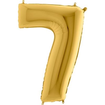 Grabo Folienballon Gelbgold 100 cm, Zahl 7