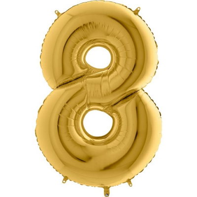 Grabo Folienballon Gelbgold 100 cm, Zahl 8