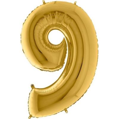 Grabo Folienballon Gelbgold 100 cm, Zahl 9