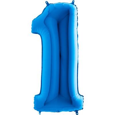 Grabo Folienballon Blau 100 cm, Zahl 1