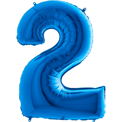 Grabo Folienballon Blau 100 cm, Zahl 2