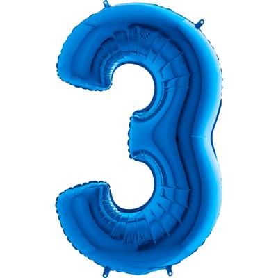 Grabo Folienballon Blau 100 cm, Zahl 3