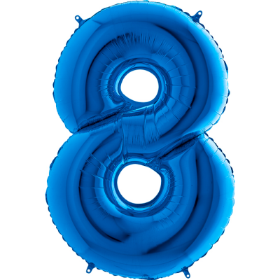 Grabo Folienballon Blau 100 cm, Zahl 8