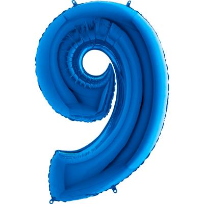 Grabo Folienballon Blau 100 cm, Zahl 9