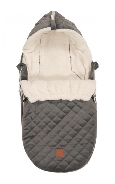 Kaiser Fusssack für Babyschale Velvet Hoody, Grey
