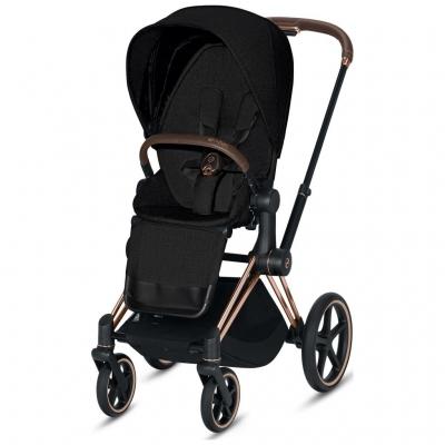 Cybex ePriam Kinderwagen Rosegold mit Lux Sitz, Stardust Black PLUS