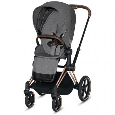 Cybex ePriam Kinderwagen Rosegold mit Lux Sitz, Manhattan Grey PLUS
