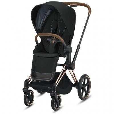 Cybex ePriam Kinderwagen Rosegold mit Lux Sitz, Deep Black