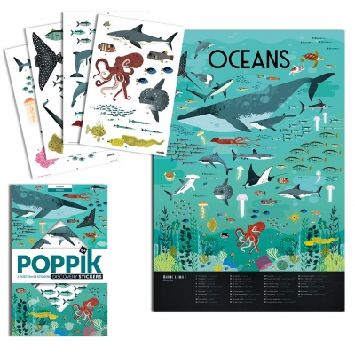 Poppik Stickerposter Discovery (1 Poster + 32 Stickers), Ozeane