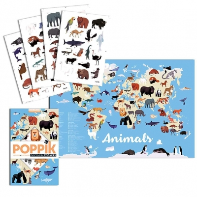 Poppik Stickerposter Discovery (1 Poster + 67 Stickers), Tiere