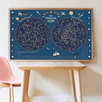 Poppik Stickerposter Discovery (1 Poster + 640 Stickers), Sternenhimmel/ leuchtend im Dunkel