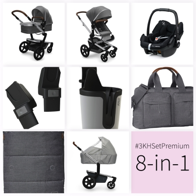 JOOLZ Day+ Kinderwagen #3KHSetPremium 8in1, Radiant Grey (mit Maxi Cosi)
