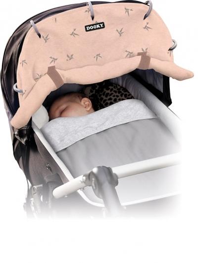 Dooky Sonnen- & Windschutz für den Kinderwagen, Pink Origami-Schwalben
