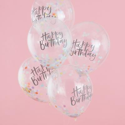 Ginger Ray Latex Konfetti Luftballone 5 Stk., Happy Birthday