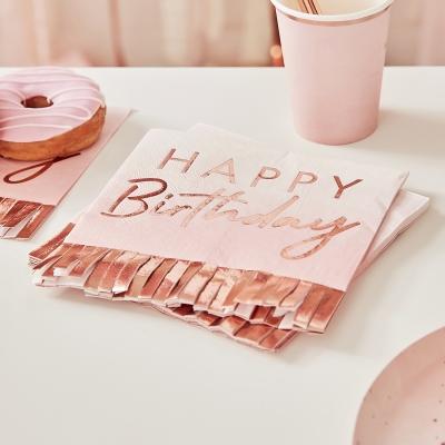 Ginger Ray Papierservietten, Rosé Gold Happy Birthday - 16 Stk.