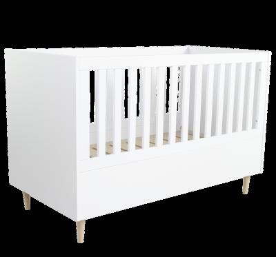 OvvoKids Baby- & Kinderbett Scandi 140x70 cm, Eiche/Weiss
