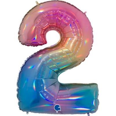 Grabo Folienballon Regenbogen 100 cm, Zahl 2
