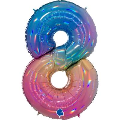 Grabo Folienballon Regenbogen 100 cm, Zahl 8