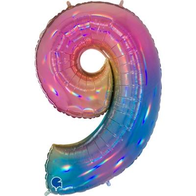 Grabo Folienballon Regenbogen 100 cm, Zahl 9
