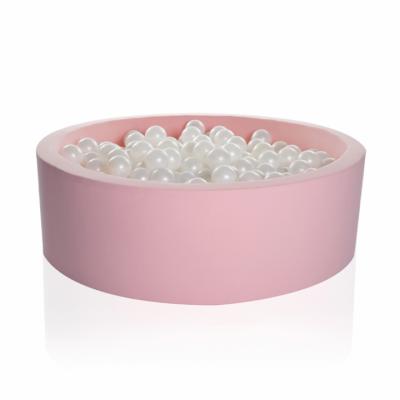 Kidkii Bällebad Rund 90 x 30 cm, Pink Candy (mit 200 grau/weissen Bällen)