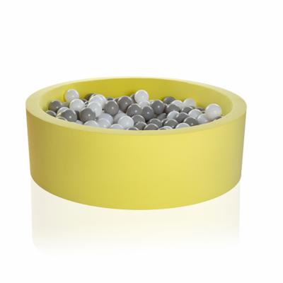 Kidkii Bällebad Rund 90 x 30 cm, Lemon Twist (mit 200 grau/weissen Bällen)